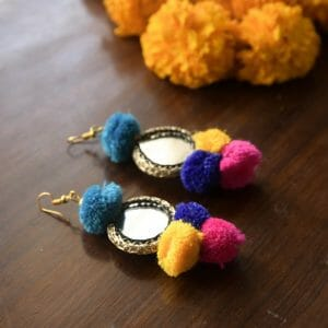 Pom-Pom Mirror Earrings